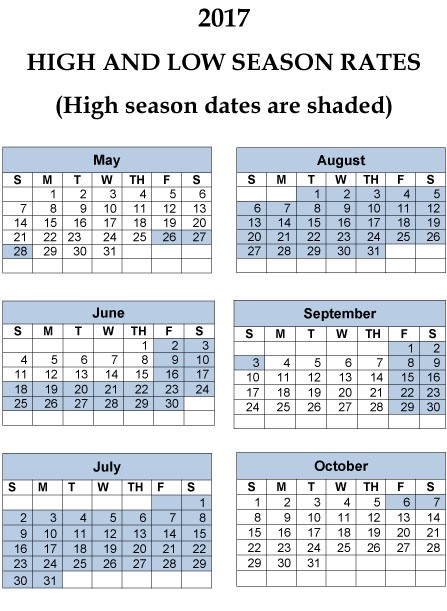 2017 HIGH AND LOW SEASON RATES CALENDAR